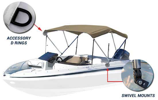 "Fits 1/"" Standard Round Tubing 6 Pack Black Color Bimini Boat Clip"