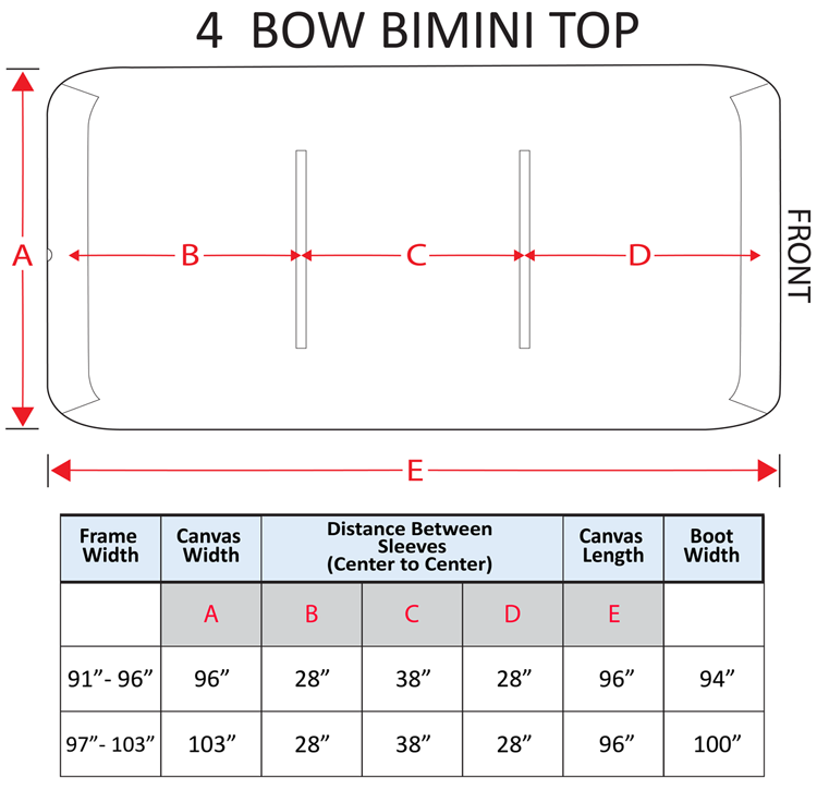 4 Bow Bimini Replacement Measurements